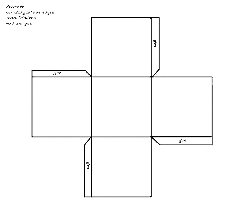 Square box for favors - click for pattern in PDF format